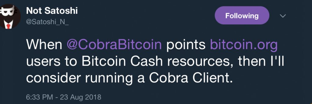 Bitcoin.org Owner Announces the 'Cobra Client' BCH Node Software