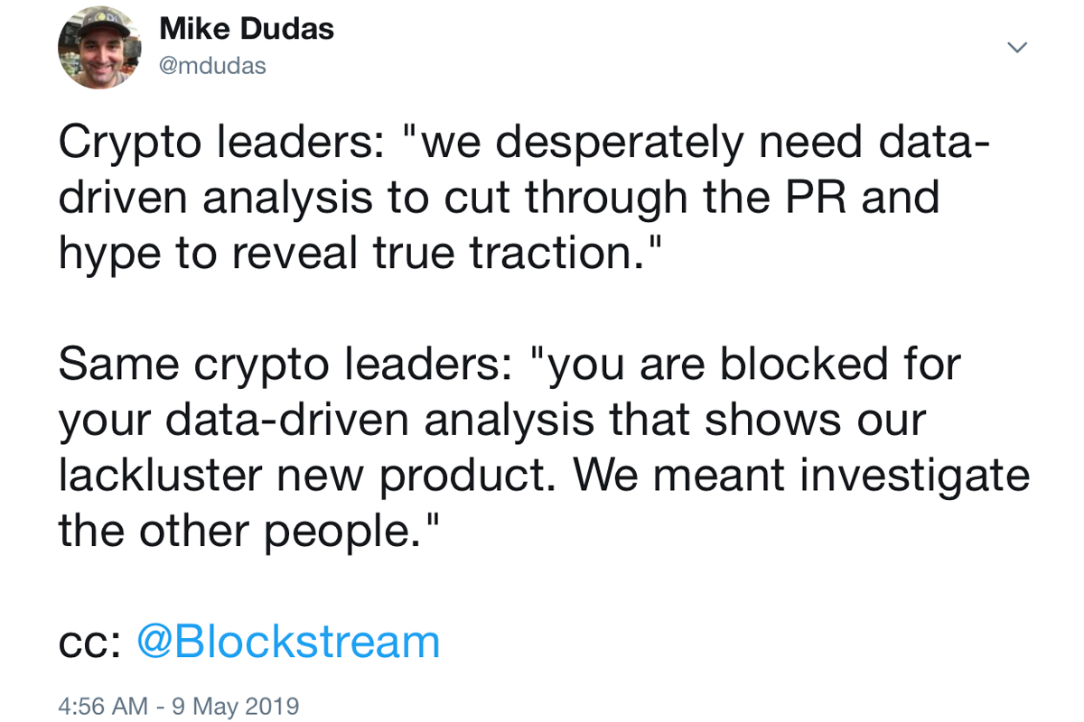 Crypto Heresy: Question Blockstream on Twitter and You'll Be Blocked