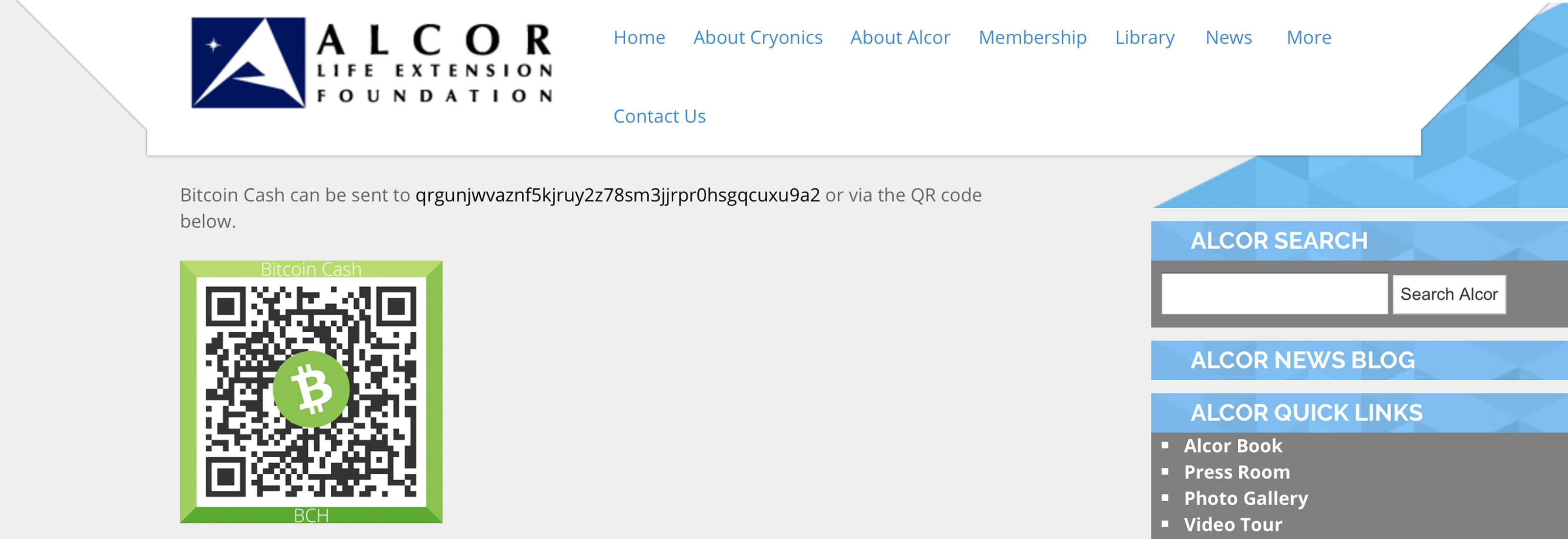 Alcor Life Extension Foundation Now Accepts Bitcoin Cash Donations