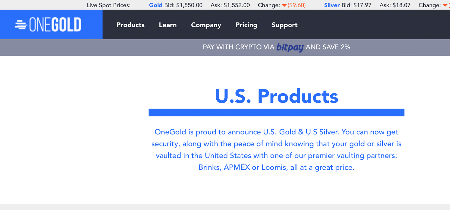 Online Bullion Marketplace Onegold Sees $ 50 Million in Crypto Payments